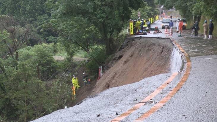 熊本 大雨で国道崩落で車2台が転落 崩落現場はどこ?